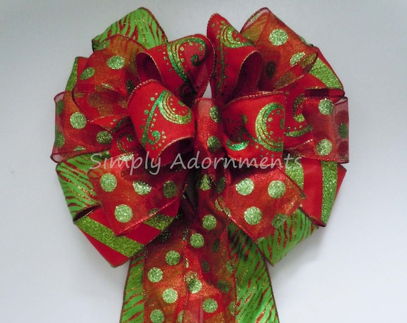 Red Lime Christmas Tree topper Bow Red Green Christmas Tree Bow Red Green Stripes Polka Dots Xlarge Christmas Wreath Bow Christmas Swag Bow