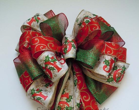 Red Green Christmas Scripts Bow JOY Scripts Christmas Tree Bow Green Red Gold Swirls Christmas Bow Winter Holidays Bow Christmas Wreath Bow