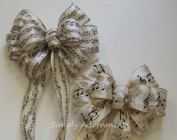 Ivory Gold Music Sheet Wreath Bow Black Music Christmas Tree Bow Music Themed Party Decor Music Sheet Bow Music Themed Tree Bow Gift Bow