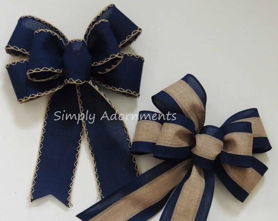 Navy blue Bow Rustic Navy Tan Wedding Pew Bow Navy Burlap Lantern Bow Navy door hanger Bow Navy Burlap Wedding Bow Handmade Rustic Gift Bow