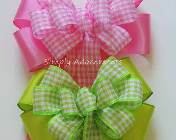 Pink Lime Gingham Easter Wreath Bow Spring Check Bow Easter Door Hanger Bow Pink Green Easter Gift Bow Green Pink Birthday Party Decorations