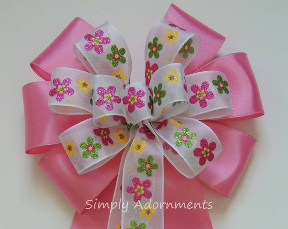 Pink Spring Flower Bow Pink Easter Flowers Wreath Bow Spring Flowers Wedding Pew Bow Flowers Birthday Party decor Spring Shower Party Decor