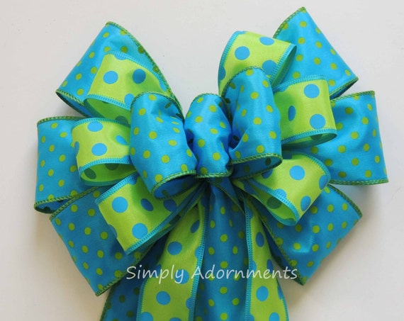 Turquoise Green Polka Dots Bow Spring Dots Wreath Bow Green Turquoise Polka Dots Birthday party decor Easter Basket Gift Bow Spring Wedding
