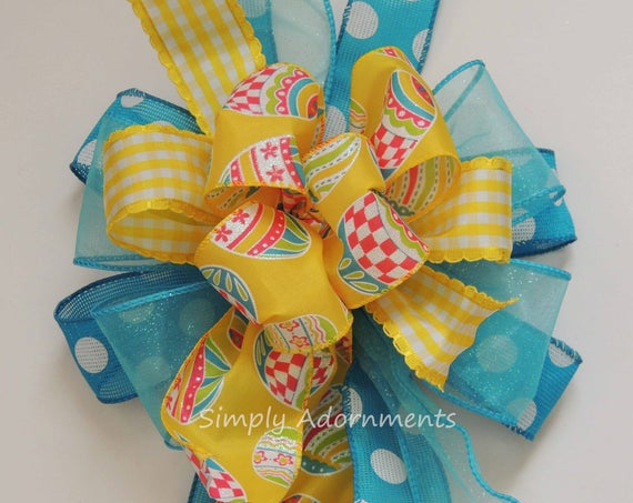 Turquoise Yellow Easter Eggs Bow Funky Yellow Turquoise Dots Easter Wreath bow Easter Party Decor Gift Basket Bow Easter Door hanger Bow