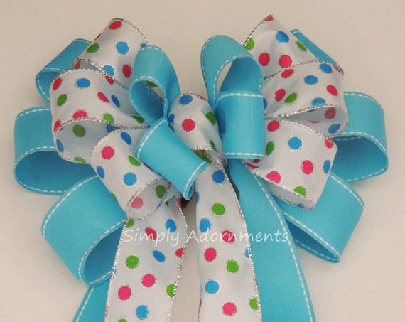 Turquoise Spring Dots Wreath Bow Spring Wreath Bow Blue Turquoise Polka Dots Birthday party decor Easter Basket Gift Bow Baby Shower Decor