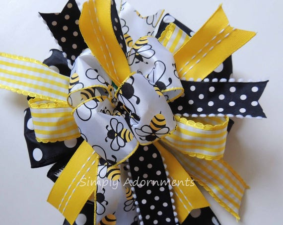 Bumble Bee baby shower Decor Bumble Bee birthday party decor Bumble Bee Wreath Bow Bumble Bee Wedding Pew Bow Bumble Bee party Decor
