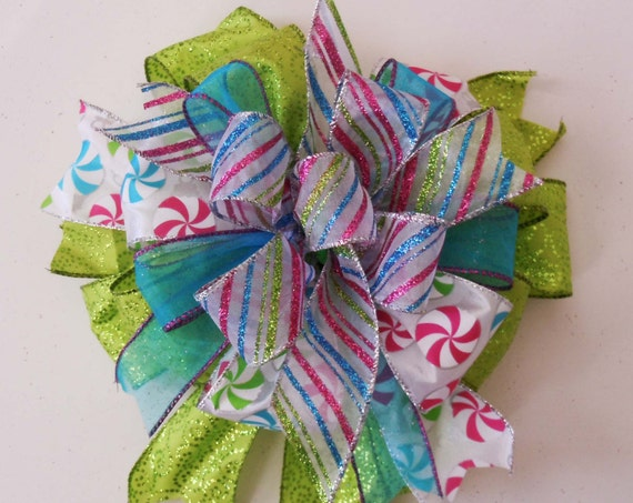 Whimsical Green Blue Christmas Bow Funky Peppermint Christmas Gift Bow Green Turquoise Pink Christmas Tree Bow Christmas Lantern Swag Bow