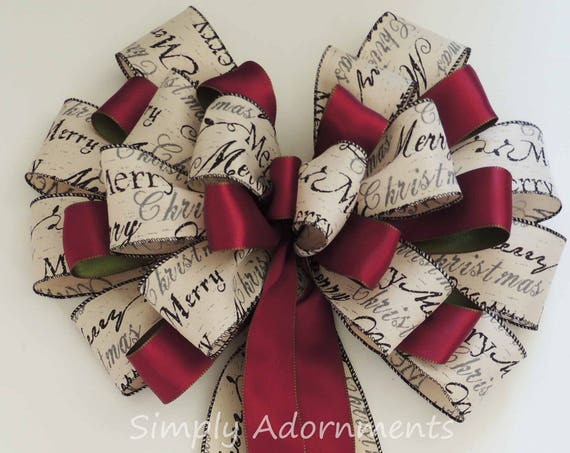 Rustic Burgundy Ivory Christmas Topper Bow Burgundy Ivory Holiday Scripts Christmas Tree Bow Large Burgundy Ivory Christmas Tree Topper Bow