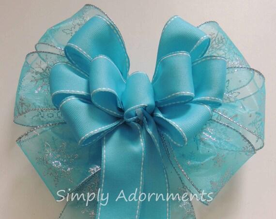 Blue Christmas Wreath bow Frozen Birthday Party Decor Blue Winter Wedding Pew Bow Frozen Wreath Bow Disney Frozen Snowflakes Birthday Decor