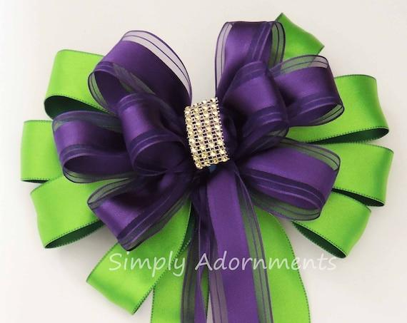 Purple Green Wedding Church Aisle Pew Bow Kelly Purple Ceremony Pew Bow Bridal Shower purple Greeb Decor Birthday Party Decor Package Bow