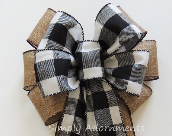 Black White Buffalo Check Wreath Bow Buffalo Plaid Wedding Pew Bow Black White Flannel Cabin Check Christmas Bow Cabin Plaid Christmas Bow