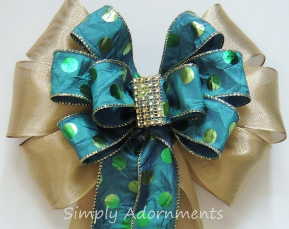 Green Teal Gold Wedding Pew Bow Blue Teal Gold Wedding Church Pew Bow Door Swag Bow Teal Gold Christmas wreath bow Teal gold Tree Topper Bo