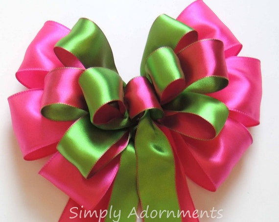 Pink Green Wreath Bow Pink Lime Wedding Church Aisle Pew Bow Pink Green Bridal Shower Decor Pink Green Plaid Bow Birthday Party Decor Gift