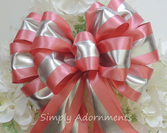Pink Silver Church Aisle Decoration Pink silver Wreath Bow Pink Baby shower Decor Light Dusty Pink Bow first Birthday Party Decor Gift Bow