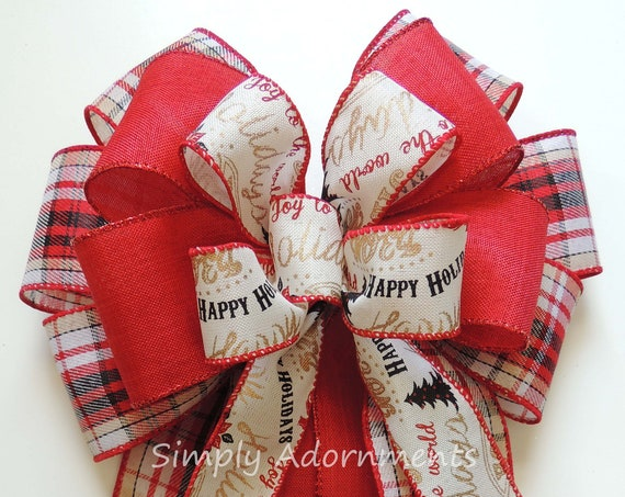 Country Plaid Christmas Wreath Bow Red Green Christmas Hollies Swag Bow Woodland Christmas Tree Bow Red Green Winter Holiday Bow Gift Bow