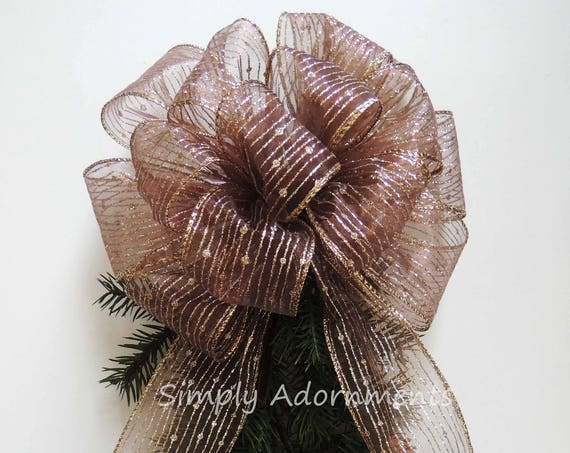 Brown gold Christmas Wreath Bow Brown Gold stripes Christmas Tree Topper Bow Brown Christmas Lantern Swag Bow Garland Bow Christmas Gift Bow