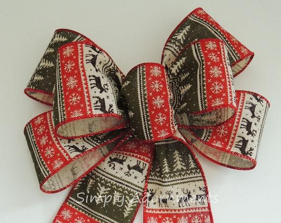 Red Green Nordic Reindeer Bow Nordic Burlap Christmas Wreath Bow Red Moss Rustic Nordic Burlap Christmas Lantern Bow Nordic Burlap Door Bow