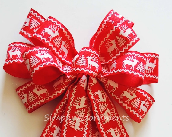 Red White Nordic Reindeer Bow Nordic Reindeer Christmas Bow Country Woodland Reindeer Wreath Bow Red White Cabin Christmas Door Hanger Decor