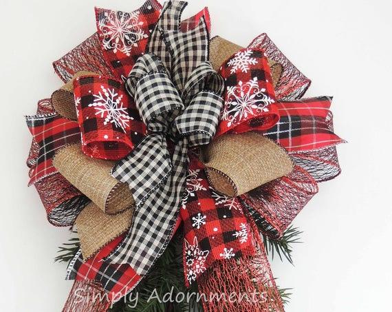 Red Black Buffalo Plaid Snowflakes Christmas Bow Country Plaid Christmas Wreath Bow Rustic Christmas Tartan Bow Country Christmas Home Decor