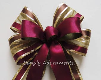 Burgundy Gold Bow Burgundy Gold Wreath Bow Burgundy Red Marsala Gold Party decoration Burgundy Christmas Lantern Bow Burgundy Gift Bows