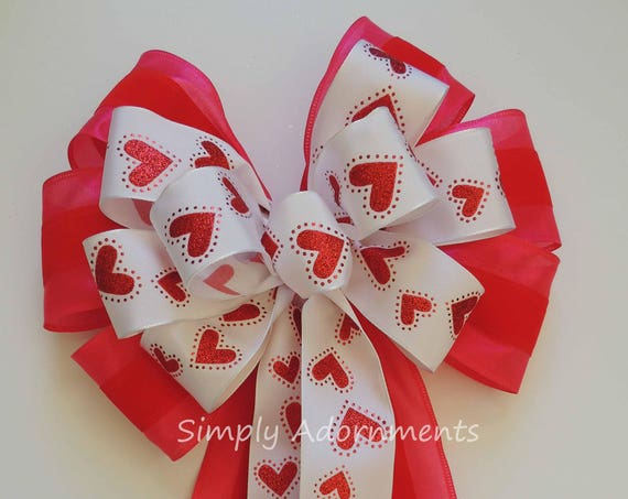 Red Pink Valentine Wreath Bow Glitter Red Heart Valentine Bow Valentine Heart Wreath Bow Red Valentine Wedding Pew Bow Valentine Gifts Bow