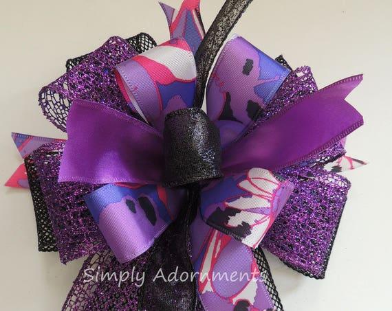 Black Purple Halloween Wreath Bow Halloween Lantern Bow Purple Halloween Door hanger Swag Bow Purple Halloween Party Decor Door wreath Bow