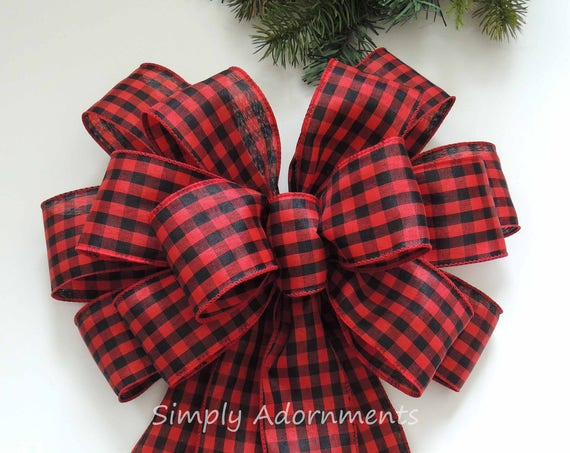 Red Black Cabin Check Bow Primitive Country Wreath Bow Red Black Check tree Bow Farm house Tree Topper bow Christmas Lodge topper tree Bow