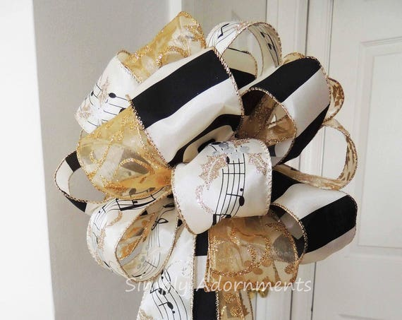 Gold Ivory Black Christmas Topper Bow Music Sheet Christmas Tree Topper Bow Ivory Gold Black Christmas Tree Topper Bow Music Gifts Bow