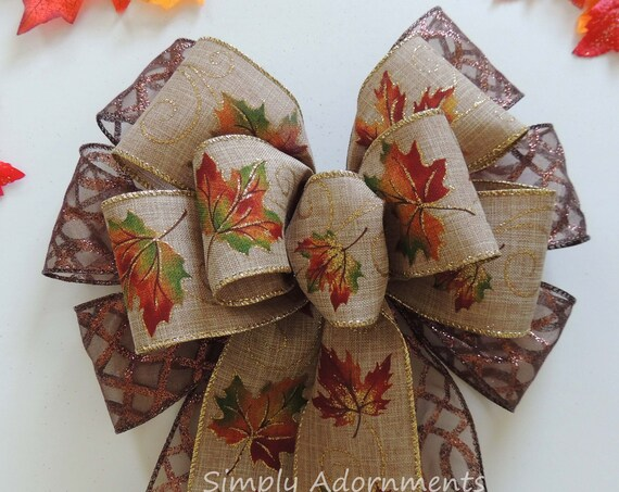 Fall Colors Leaves Wreath Bow Wedding Pew Bow Brown Orange Fall Leaves Pew Bow Fall Leaves Thanksgiving Wreath Bow Fall Wedding Aisle decor