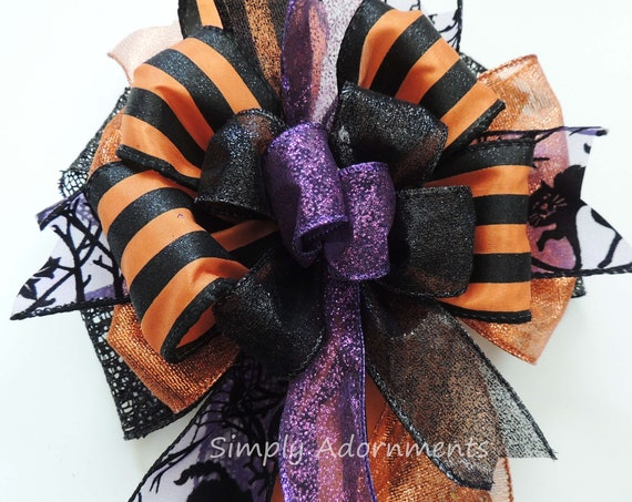 Black Orange Halloween Wreath Bow Halloween Dots Stripes Lantern Bow Halloween Swag Door Bow Trick or Treat Halloween Party Decoration