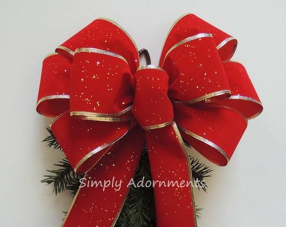 Christmas Red Velvet Gold Trim Bow Indoor/ Outdoor Wreath Bow Red Velvet Christmas Mailbox Bow Red Gold Christmas lampost Bow Swag door Bow