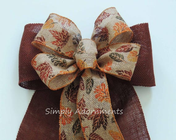 Rustic Fall Burlap Bow Thanksgiving Wreath Bow Fall Leaves Burlap Bow Fall Decor Autumn Leaves Burlap Bow Fall Home Decoration Fall Swag Bow