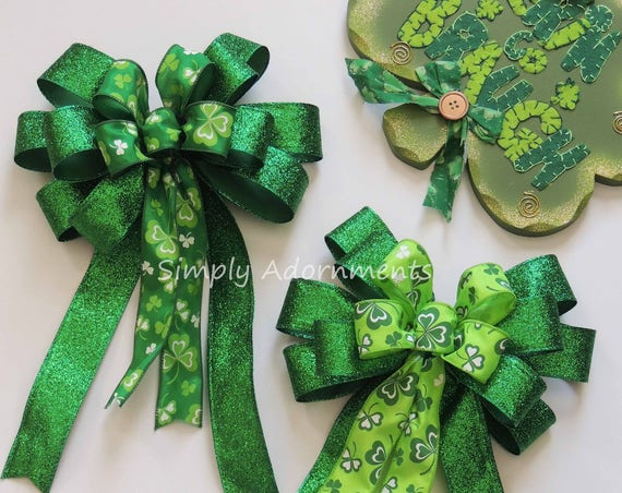 Saint Patrick's Wreath Bow Kelly Emerald St. Patrick's Wreath Bow Emerald Lime Irish Shamrock Bow St Patrick door hanger bow Shamrock Bow