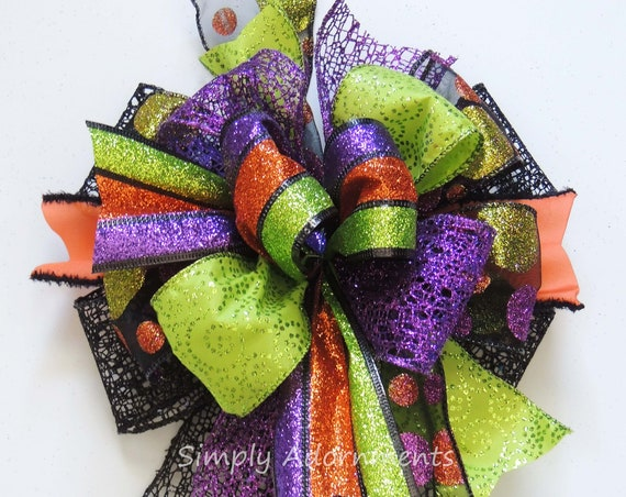 Funky Halloween Colors Bow Multi colored Halloween Wreath Bow Door Decor Bpw Halloween Multi colored Bow Multicolored Halloween Party Decor