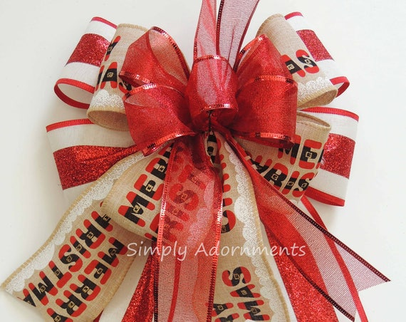 Whimsical Merry Christmas Red White Themed Christmas Bow Funky Santa Buckle Christmas Bow Christmas Santa Lantern Bow Christmas Gift Bow