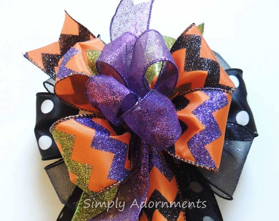 Purple Black Orange Halloween Wreath Bow Halloween Chevron Lantern Bow Halloween Bow Halloween Funky Door Hanger Decor Halloween Gift Bow