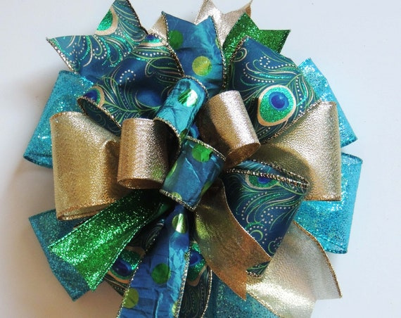 Whimsical Blue Gold Bow Blue Gold Peacock Christmas Wreath Bow Funky Peacock Christmas Tree topper Peacock Gift bow Peacock Lantern swag bow
