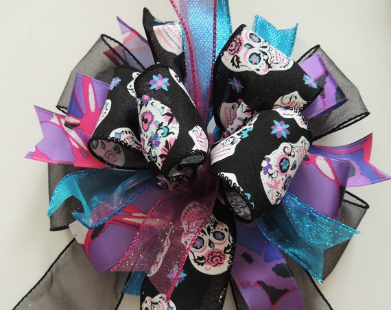 Sugar Skull Wreath Bow Purple blue Pink Sugar Skull Swag bow Halloween Door Decor Bow Day of the Dead Party Bow Halloween Party Decor
