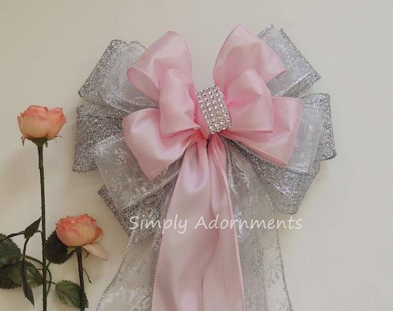 Pink Silver First Birthday Wedding Pew Bows winter Wonderland Pink Silver Bridal Shower Party decor Pink Silver Baby Shower Party Decor