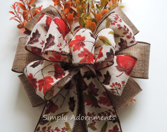 Rustic Burlap Fall Leaves  Wreath Bow Thanksgiving Door Wreath Bow Burlap Autumn Leaves Pew bow Church Aisle Bow Fall Wedding Ceremony Decor