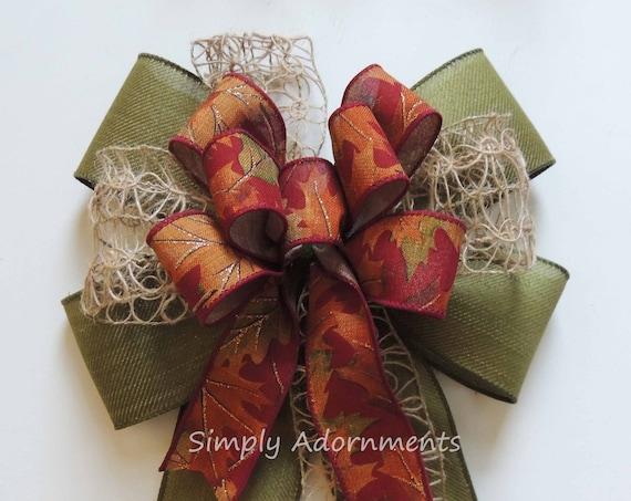 Rustic Fall Burlap Bow for Wreath Whimsical Fall Colors Lantern Swag Bow Burgundy Green Fall Burlap Door Hanger Decor Fall Burlap Gift bow