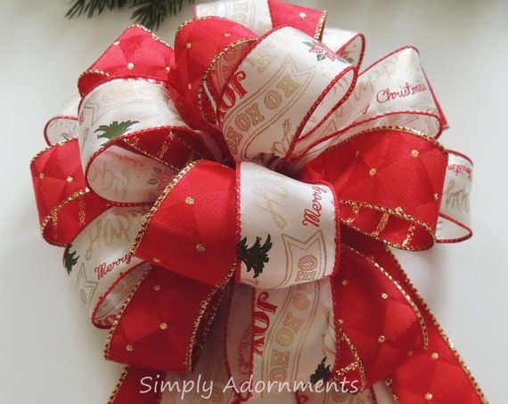 Red White Christmas Bow Christmas Sparkle Red Stripes Polka Dots Christmas Tree Topper Bow  Christmas Tree Topper Bow Christmas Gift Bow