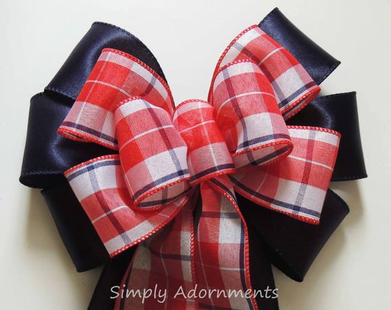 Red Navy Plaid Bow Patriotic Navy Wreath Bow July 4th Wreath Bow Fourth of July Bow Independence Day Bow Navy Red Patriotic Door Hanger Bow