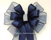 Navy Blue Silver Bling Wedding Pew Bow Navy Wedding Pew Bow Navy Church Aisle Decoration Navy Bridal Shower Bow Navy Satin Wedding Chair Bow