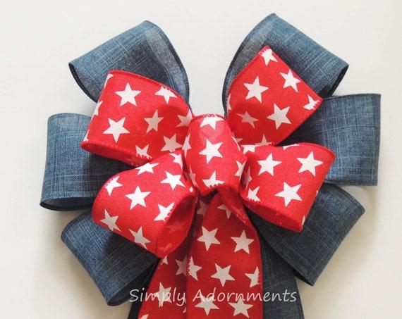Red star Patriotic wreath Bow Vintage Patriotic Swag bow July 4th Lantern Bow Patriotic Denim Wedding Pew Bow 4th of July Denim Door Bow
