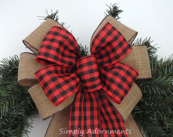 Red Black Check Burlap Wreath Bow Check Plaid Wedding Pew Bow Black Red Cabin Check Christmas Bow Country Plaid Christmas Door Wreath Bow