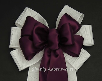 Aubergine Purple White Wedding Pew Bows White and Purple Wedding Ceremony Chair Bow Eggplant Church Aisle Bow Purple white Party decoration