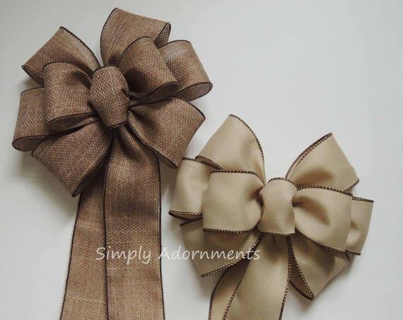 Vintage Burlap Wedding Bow Vineyard Wedding Pew Bow Cabin Rustic Burlap Christmas Wreath Bow Burlap Wedding Pew Bow Rustic Fall Burlap Bow