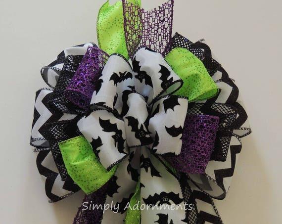 Black Green Purple Halloween Bow Black Bat Wreath Bow Halloween Bat Bow Halloween Door Hanger Decor Multicolored Halloween Party Decorations