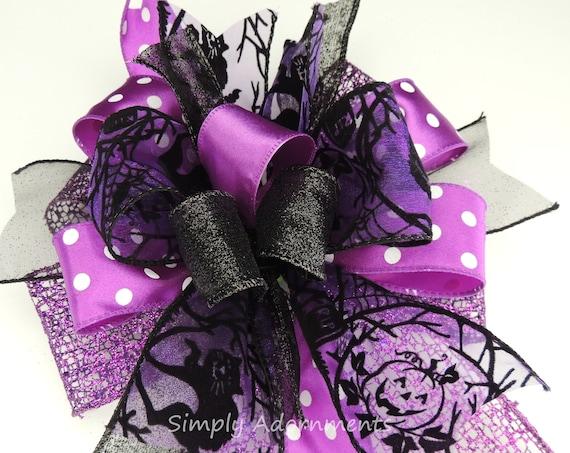 Purple Black Cat Halloween Wreath Bow Halloween Lantern Bow Black Purple Jack o Lantern Halloween Door Bow Purple Halloween Party Decor